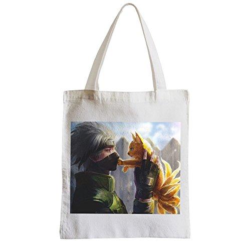 Große Tasche Sack Einkaufsbummel Strand Schüler Kakashi mit Naruto ninja manga kawai kleiner Fuchs