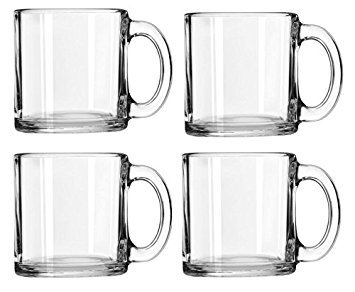 Libbey Crystal Coffee Mug Warm Beverage Mugs Set of 4 (13 oz)