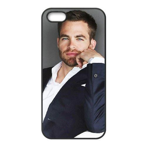 Chris Pine 001 coque iPhone 4 4S cellulaire cas coque de téléphone cas téléphone cellulaire noir couvercle EEEXLKNBC24206
