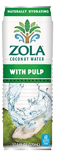 Zola 100% Natural Coconut Water with Pulp, 17.5 Ounce (Pack of 12)