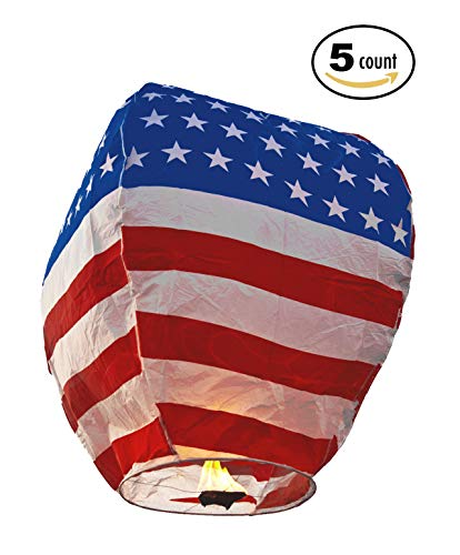 Fancy Supplies Pack of 5 American Stars Stripes Sky Lanterns Chinese Lanterns Release Biodegradable Paper 4th July eco Friendly New Year Party Release (5 Piece, American)