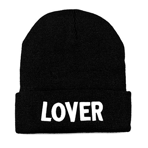 NYKKOLA Unisex Slouchy Cuff Beanie Skull Knit Hat Cap - Winter Warm Black Lover Ski Hat and Snapback Black Classic Knit Beanie
