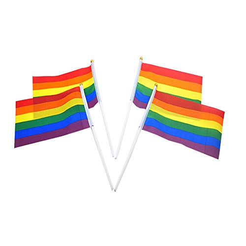 Soochat Rainbow Gay Pride Stick Flag,Hand Held Mini Rainbow Flag,Stick Flag Vivid Color and Fade Resistant Gay Party Decorations,Rainbow Festival Supplies (30 Pack) ()
