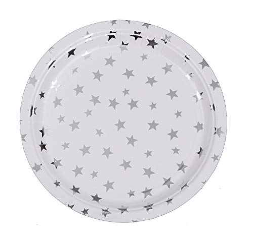 Ottin White and Silver Paper Plates 60 Counts 7'' Dessert Plates for Party Sets Wedding Decorations Birthday Bridal Shower Graduation Engagement Birthday(White with Silver Foil Stars, 7'')