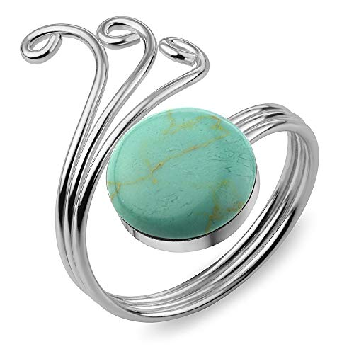 - Sterling Silver Reconstituted Blue Turquoise Wrap around Stacking Band Ring Adjustable Size 6-10