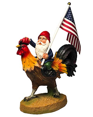 (Funny Guy Mugs Gnome Riding A Rooster Garden Gnome Statue- Indoor/Outdoor Garden Gnome Sculpture for Patio, Yard or Lawn)