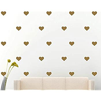 Amazoncom Vinyl Wall Decals Removable Wall Stickers Hearts Gold - Custom removable vinyl decals
