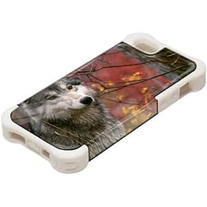 Animales Salvajes 10025, Design Blanco Caso Carcasa Funda de Silicona Hybrid Armor Protección Case Cover con Diseño Colorido y Protector De Pantalla para Apple iPhone 5 5S.