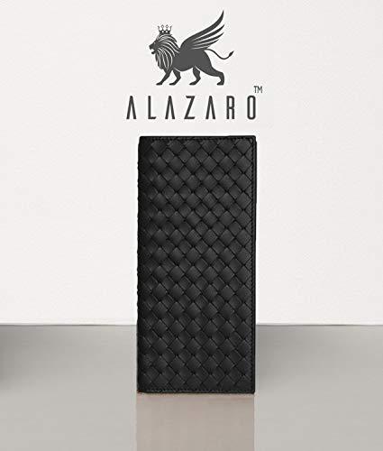 Alazaro Italia - Massimo - (Raven Black) Full Grain Calf Leather - RFID Protection - Men and Women -Style Vegetable Tanned Full Grain RFID Men and Women Long Wallet - Made From Premium Italian Leather