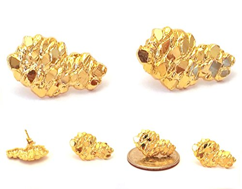 Mens Hip Hop 18k Yellow Gold Finish 925 Sterling Silver Nugget Stud Earrings (Nugget Yellow Ring Gold)
