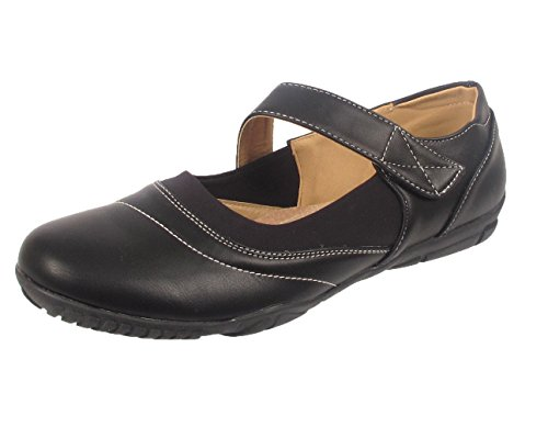 Ladies Women Plus Size Big Feet Flat Ballerina Ballet Mary Jane Heel Shoes Size Black B25cCKwIF