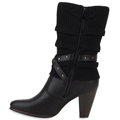Stiefelparadies - Botas De Vaquero Mujer Negro - Schwarz Weiß