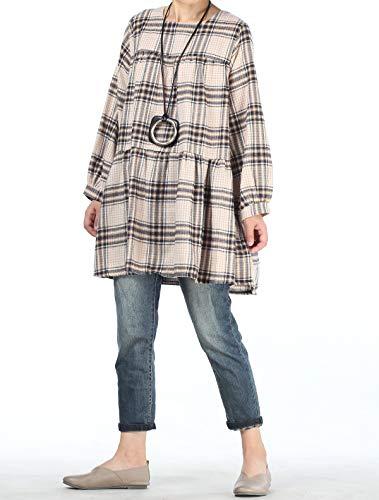 Shirt Beige Mallimoda Coton Blouse Casual Ample T Femme Tops Carreaux ZzFYqwAz