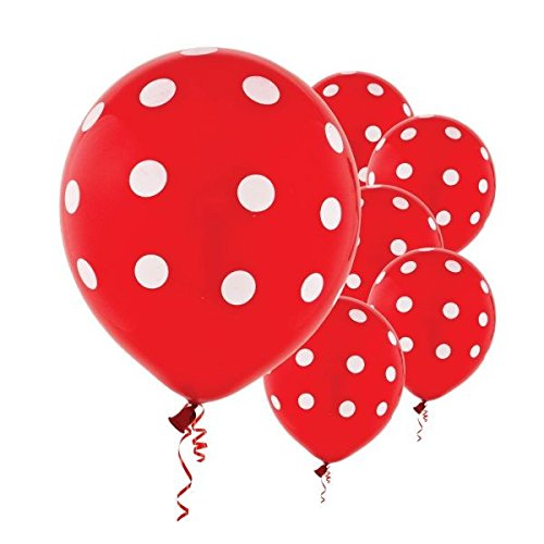 Polka Dots Red Latex Balloons | Pack of 6 | Party -