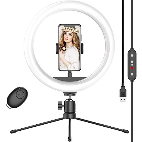 """10"""" Selfie Ring Light with Tripod Stand & Phone Holder, Dimmable Desk LED Makeup Ring Light for Live Streaming/Zoom Meetings/YouTube Video/Volg, Compatible with iPhone Android"""