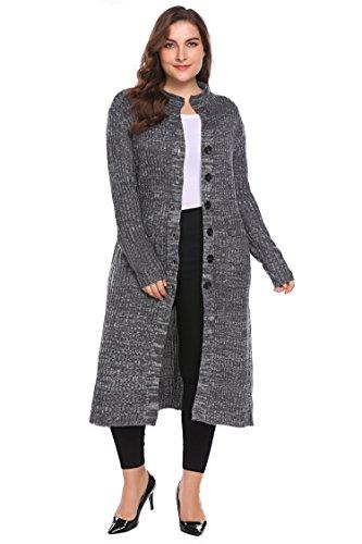 Involand Women Plus Size Casual Button Down Pocket Long Sleeve Rib Knit Maxi Cardigan Sweater Dark Green 16