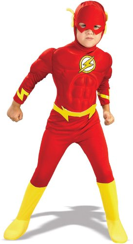 Based On Costumes Halloween Movies Group (Rubies DC Comics Deluxe Muscle Chest The Flash Costume,)