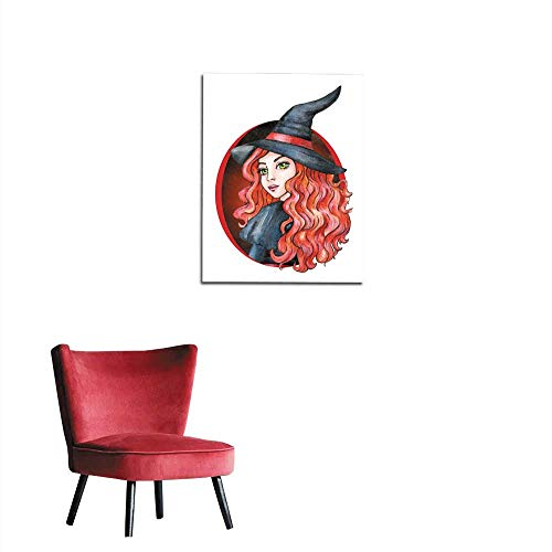 longbuyer Painting Post Beautiful Young Girl - Witch Halloween Costume Watercolor Illustration Mural -