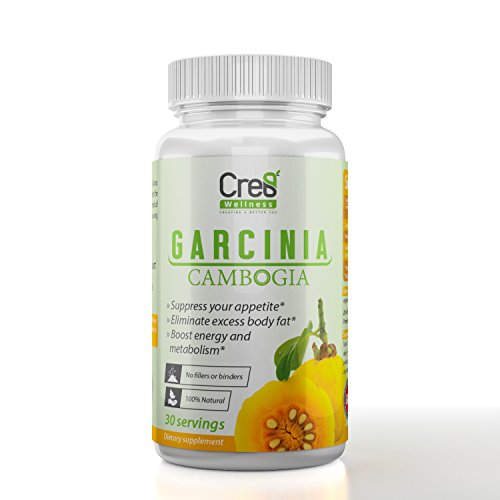 100% Pure Garcinia Cambogia Extract with HCA by Cre8 Wellness – All Natural Appetite Suppressant, Promotes Weight Loss, Premium Fat Burner Carb Blocker – Non GMO – Made in USA 60 Veg Capsule