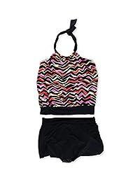 Magicsuit Womens Multi Striped U-Wire Skirt 2 Piece Tankini Pinkblack 10