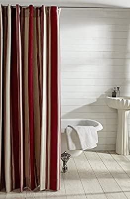 Be-you-tiful Home Camden Stripe Shower Curtain, Red