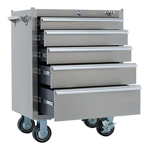 Viper Tool Storage V2605SSR 26-Inch 5-Drawer 304 Stainles Steel Rolling Tool Cabinet