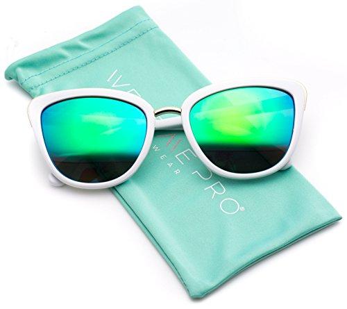 Womens Cat Eye Mirrored Revo Reflective Lenses Oversized Cateyes Sunglasses (White Frame/Mirror Green, 54) Plastic Women Sunglasses