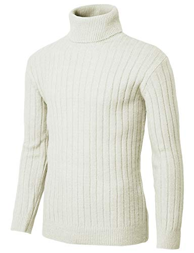 H2H Mens Slim Fit Turtleneck Pullover Wool Sweaters Basic Ribbed Thermal White US L/Asia L (KMOSWL251)