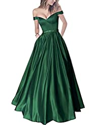 Lemai Off Shoulder Beaded Satin V Neck Corset Long Prom Dresses Evening Gowns