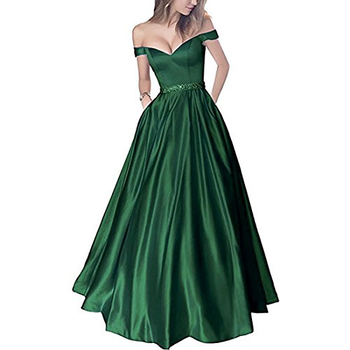 Plus Size Off Shoulder Beaded Satin V Neck Prom Dress Evening Gown Emerald Green US 22W