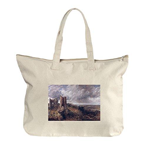 Hadleigh Castle (Constable) Canvas Beach Zipper Tote Bag Tote (Castle Hadleigh)