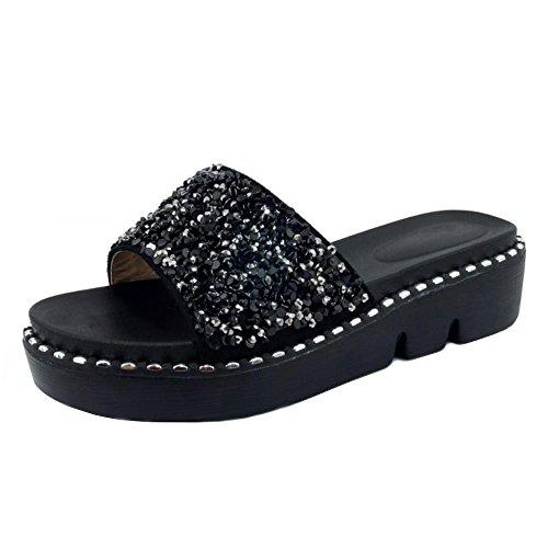 Coolcept Women Fashion Flatform Mules Sandals Black-17 ggiSEj