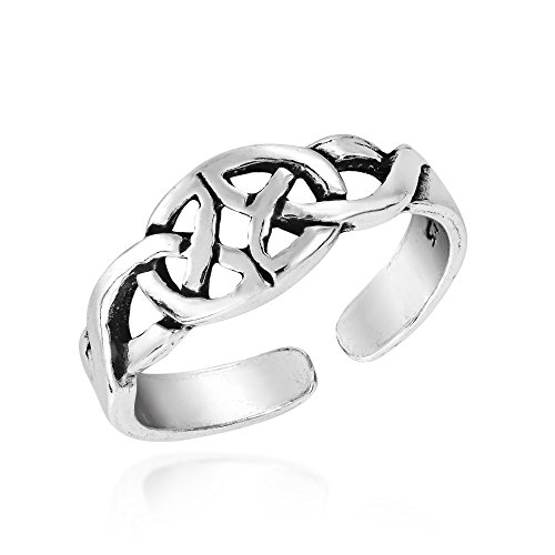 Mirrored Celtic Trinity Knot .925 Sterling Silver Toe Ring or Pinky Ring
