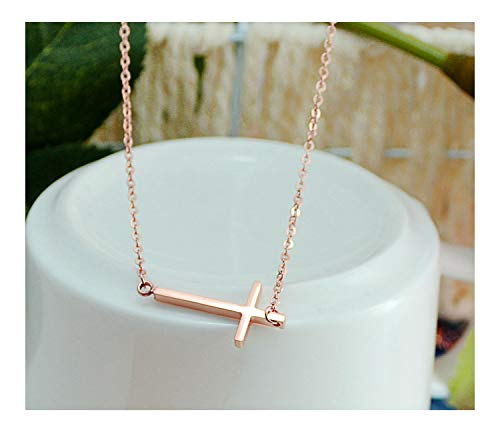 KristLand -18K Rose Gold / S925 Silver Bar Short Necklace Simple Solid Cross Necklace Adjustable Long Choker 18K Rose Gold