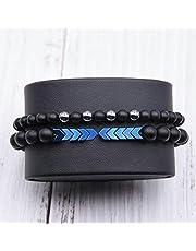 Men's Bracelets From Matt Pearl Beads And Blue Hematite Stone