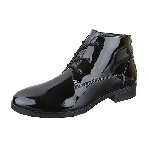 Ital-Design Chelsea Boots Damen Schuhe Chelsea Boots Blockabsatz Schnürer Schnürsenkel Stiefeletten Schwarz