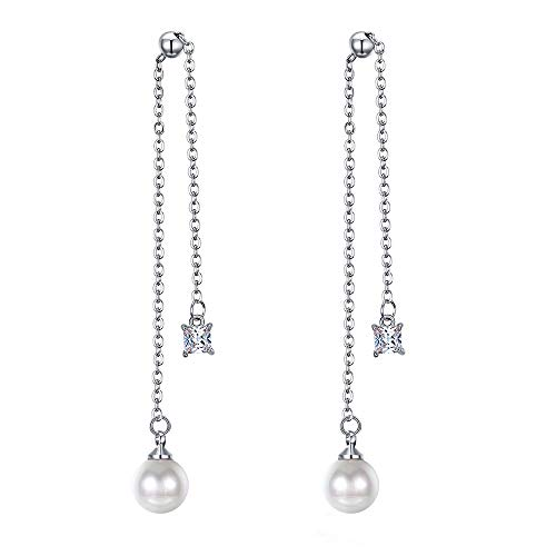 MiYuan Women Fashion Gold Plated Brass Chain Simulated Pearl CZ Charm Drop Dangle Earring (white-gold-plated-brass)