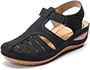 celnepho Sandals for Women, Hook and Loop Wedge Sandals, Comfort Flat Sandals, Casual Athletic Walking Shoes