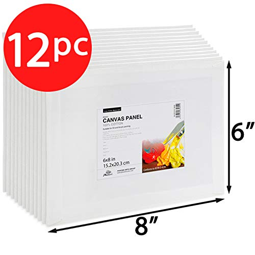 Phoenix 6x8 inch Painting Canvas Panel Boards 12 Pack of Super Value Pack 1/7 inch Deep for Professional Artist, Student & Kid from Phoenix