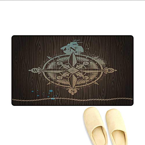 Bath Mat Boating Windrose with Ship Rope on a Wooden Background Marine Life Inspired Design Door Mats Area Rug Tan Brown -