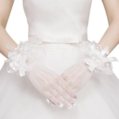 (Baoxinjp)レディースショートウェディング手袋 ウェディンググローブセクシー ストレッチグローブ レース サテングローブ ウエディング小物 パーティ 結婚式 花嫁用品 ファッション小物 アクセサリー ブライダルグローブ 14CM
