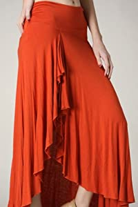 Women's Ruffled maxi skirt with a slit.