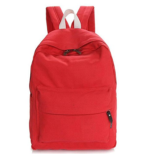 Heheja Lona Escolares Mochila Color Sólido Viaje Mochila Ocio Deportes Bolsa Rojo