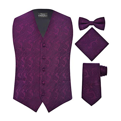 (S.H. Churchill & Co. Men's 4 Piece Paisley Vest Set, with Bow Tie, Neck Tie & Pocket Hanky - XL, Purple)