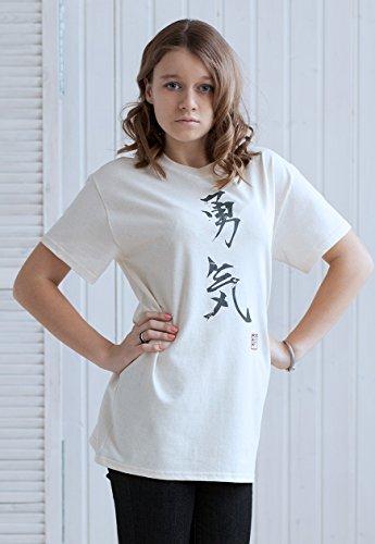 Japanische Shirt-Yuki/MUT-Print T-Shirt, Japanisches Kalligrafie-Design, Elfenbeinfarben