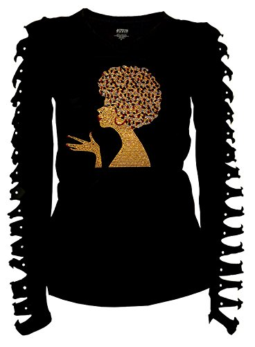 Gold Afro FroLicious, Natural Hair Rocks T-Shirt Ripped Cut Out Long (Medium)