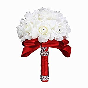 Wedding Bouquets Roses Bridal Bridesmaid Wedding Hand Bouquet Artificial Fake Flowers with Crystal Pearl Silk Artificial Rose Flowers for Wedding Party and Church (18cm24cm, Red) 41