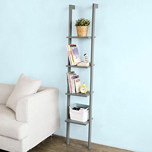 SoBuy White Modern Wood Ladder Shelf, 4 Tiers Stand Shelf Wall Shelf ,Bookcase, FRG15-HG,Grey