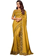 yellow Indian Woman Silk Sari Sequin & Thread Embroidery Border & Blouse Saree Diwali Festival 1259