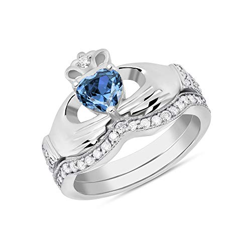 - CaliRoseJewelry Sterling Silver Irish Claddagh Birthstone Ring Set December (Size 6)